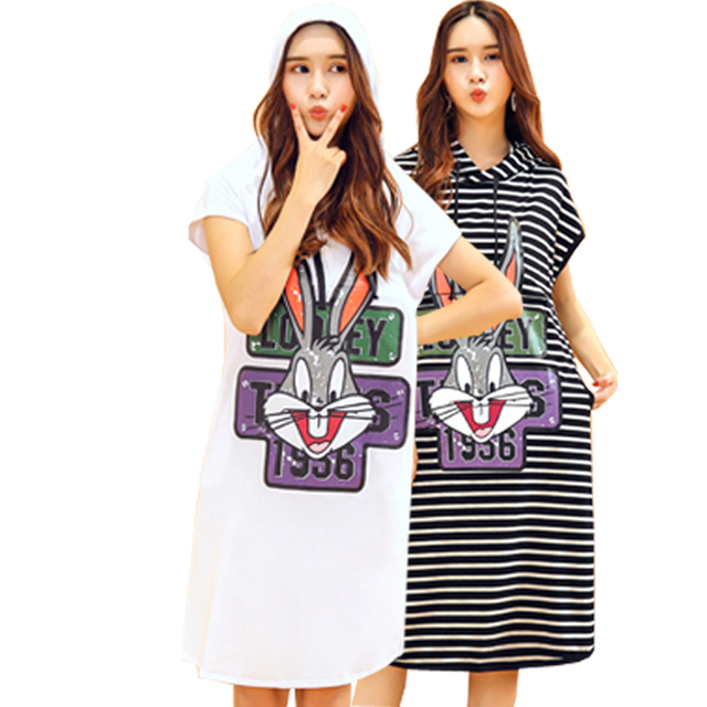 US $12.99 35% OFF|Cartoon Pattern Print Withe Hooded Casual Dress  Postpartum Plus Size Breastfeeding Clothes Tops Drop Shipping -in Dresses  from ...