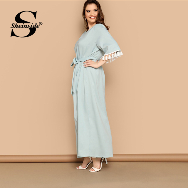 Sheinside Plus Size Elegant Fringe Detail Maxi Dress Women 2019 Summer Solid Belted Straight Dresses Ladies Half Sleeve Dress 2