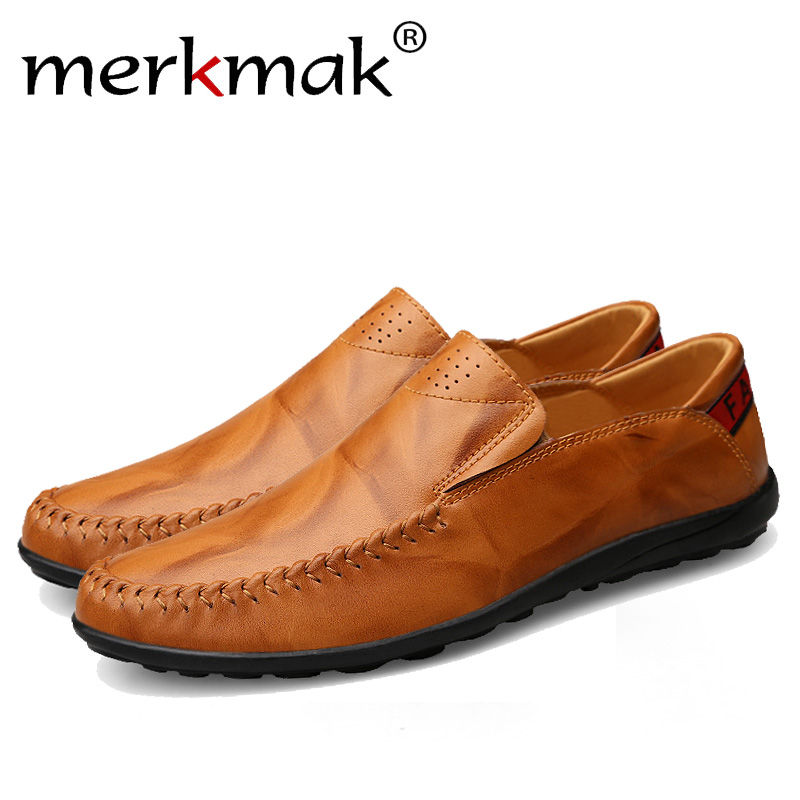 цена на Merkmak Fashion Genuine Leather Men's Shoes Casual Big Size 36-47 Holes Loafer Design Driving Men Flat Footwear Handmade Shoes