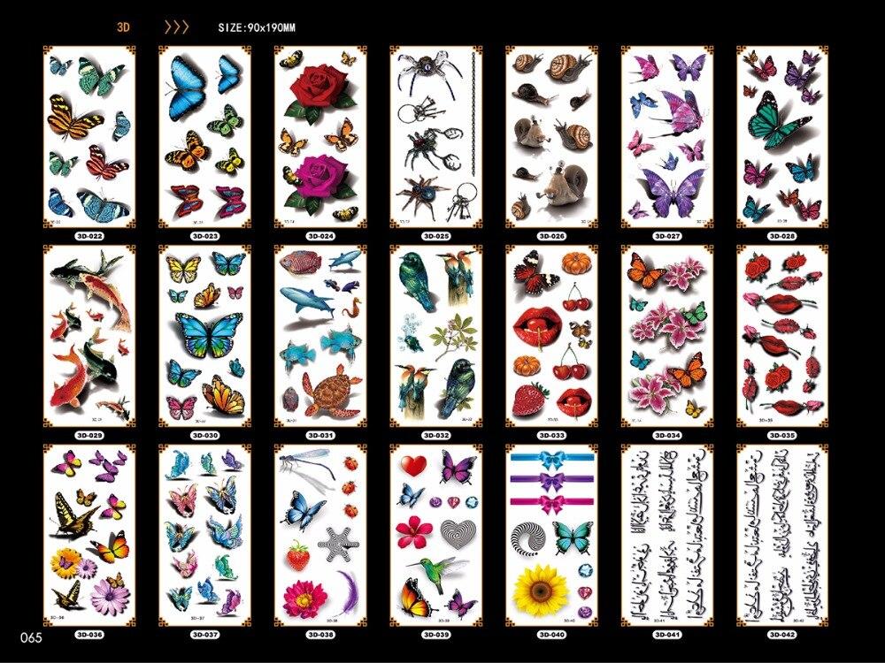 Симпатичные нескольких перемещение воды татуировки Временные татуировки насекомых Бабочка шаблоны легкая 3D эффект тела макияж девушка ру...