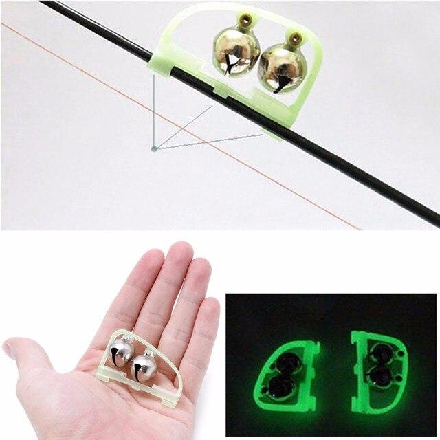 10pcs Fishing Rod Tip LED Light Clip Rod Twin Bells Ring de Pêche Bite Alarm