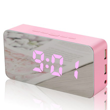 Mobile Charging Digital Alarm Clock Electronic LED Mirror Temperature Snooze Large Display Home Decor Function