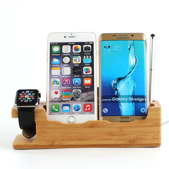 2016 high quality mobile phone watch triple bamboo base charging cradle i watch watches bracket.