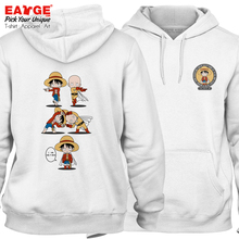 Anime One Piece And Punch Man Crossover Funny Streetwear Luffy VS Saitama Warm Hoodies Skate Women Men Fleece Sweatshirts