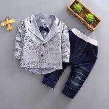 2019 3pcs Boys Clothes Set Children Fashion Kids Boy Gentleman Suit Blouse Long Pants Outfit Out Wear Toddler