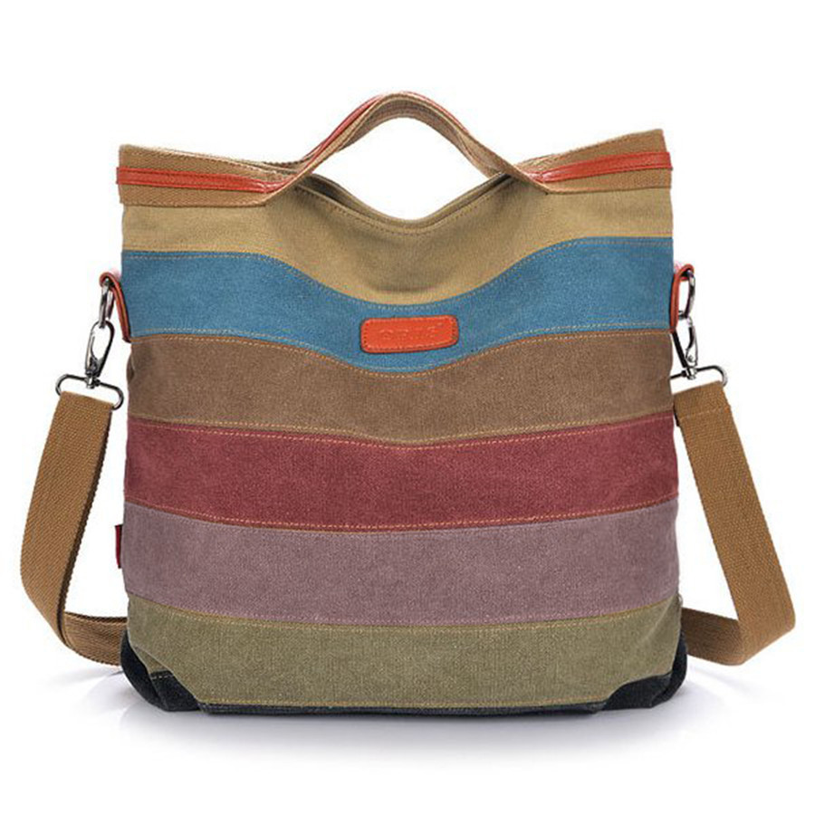 Fashion Women Canvas Hit Color Striped Crossbody Bag Messenger Bag Color Block Tote Handbags Vintage Female Bags 2016 New aosbos fashion portable insulated canvas lunch bag thermal food picnic lunch bags for women kids men cooler lunch box bag tote