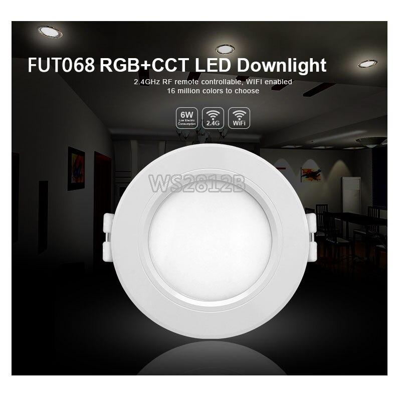 Milight 6 watt LED Downlight AC100-240V FUT068 dimmbare RGB + CCT einbau Led-panel lichter kompatibel FUT092 fern WIFI APP control
