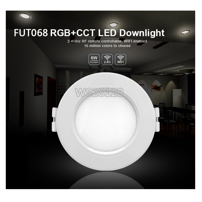 Milight 6W LED Downlight AC100-240V FUT068 dimmable RGB+CCT recessed Led panel lights compatible <font><b>FUT092</b></font> remote WIFI APP control image