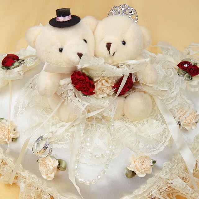 Wedding supplies heart shaped ring pillow wedding ideas Teddy Bear ...
