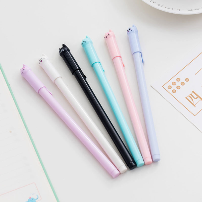 1 set of kawaii gel pen cute cat glue pen 0.5mm full needle black ink pen school supplies office supplies