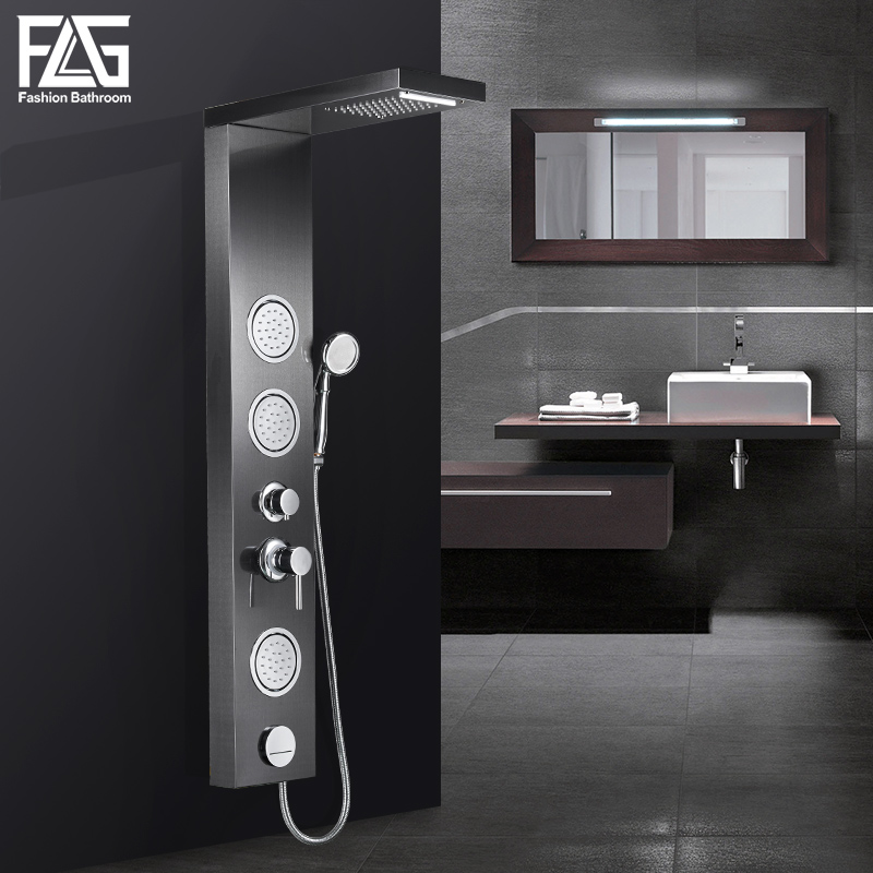 FLG Bathroom Shower Panel Wall Mounted Massage System Faucet with Jets Hand Shower Rain Waterfall Shower Panel LY112-01S ouboni new arrival bathroom rainfall shower panel rain massage system faucet with jets hand shower bathroom faucet tap mixer
