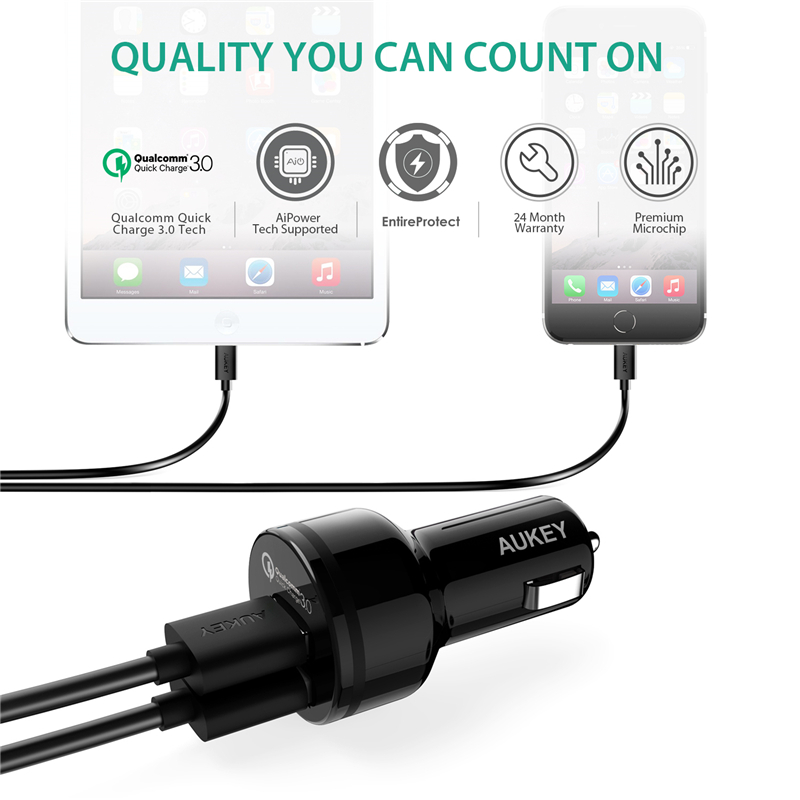Aukey 36w Car Charger Usb Quick Charge 3 0 Universal Fast Charging For Galaxy S8 Xiaomi Mi5 Iphone And More Phone In Chargers From
