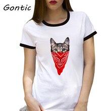 Gangster Cat  funny short sleeve printed t-shirt 3d Design Customized women tops Cute Animal veil cat bff t shirt street wear
