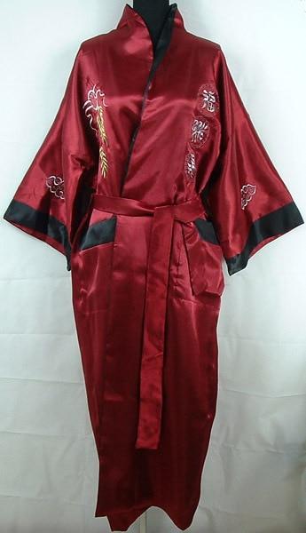 Free shipping Burgundy Reversible Two-face Chinese Men's Silk Satin Robe Embroidery Kimono Bath Gown Dragon One size S0003