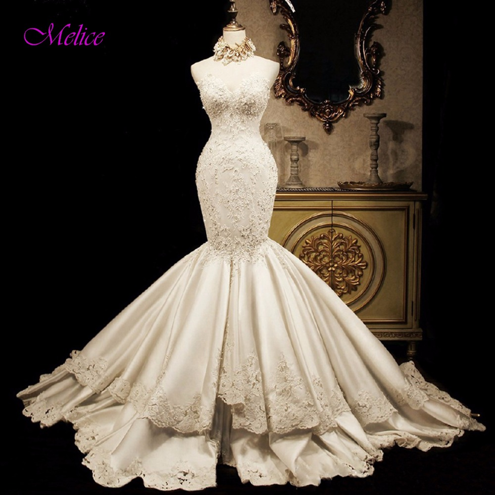 Trumpet Wedding Dresses 2019: Aliexpress.com : Buy Melice Sexy Strapless Lace Up