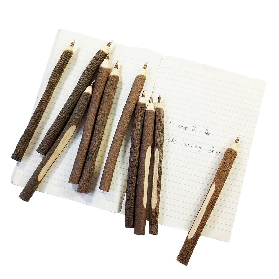 Купить с кэшбэком 50 Pcs/lot Vintage Wooden Individualization Ballpoint Pen Environmental Twig Wood Ball Pen School Office Supplies