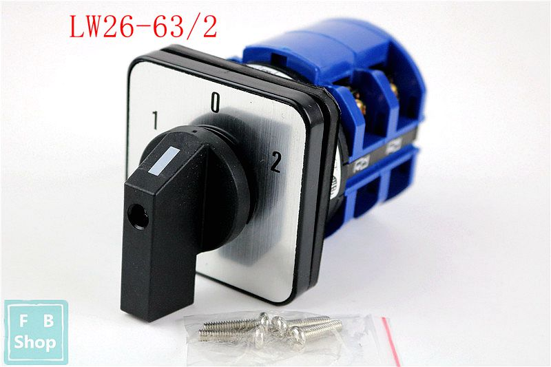 1pcs High quality LW26-63/2 DC voltage 1-0-2 manual electrical changeover rotary cam switch two poles sliver point contacts цена