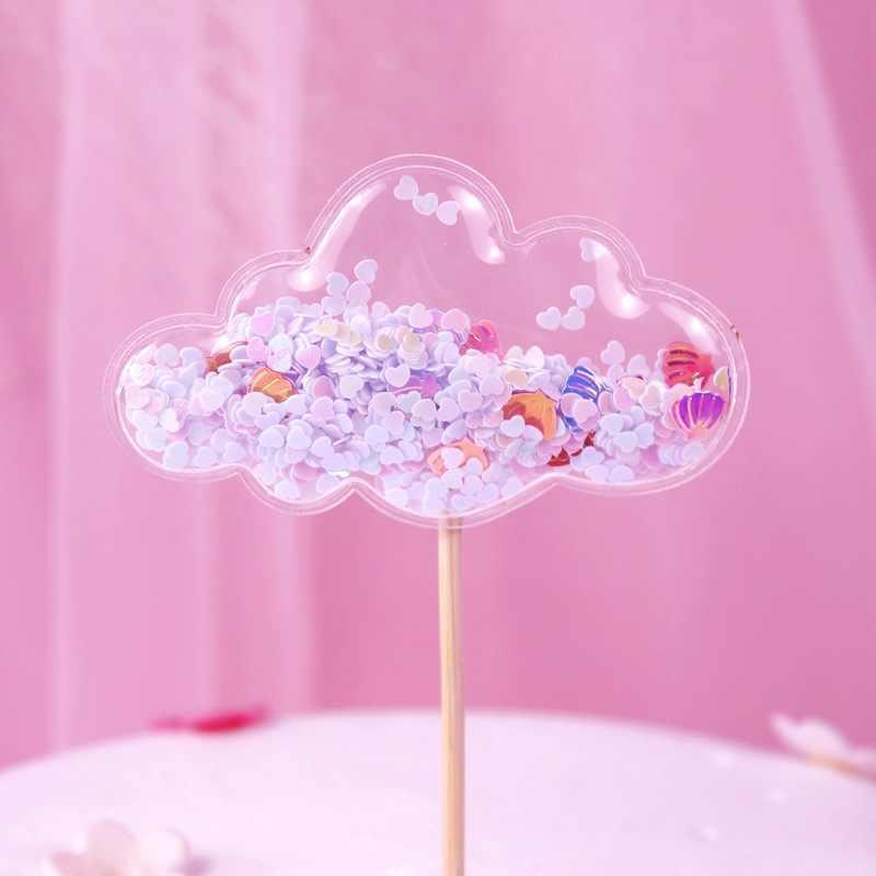 かわいいスパンコールユニコーンケーキトッパークラウン装飾パーティークリスマスの装飾王女のウェディング好意