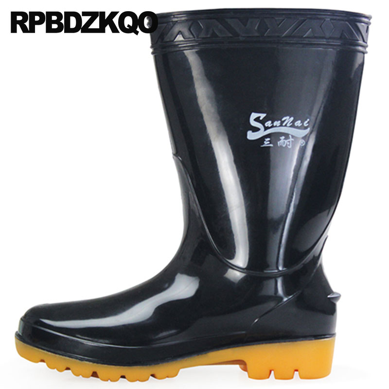 Tall Mid Calf Waterproof Winter Plus Size Platform Black Short Rainboots Faux Fur Casual Cheap Mens Rubber Rain Boots Warm Shoes недорго, оригинальная цена