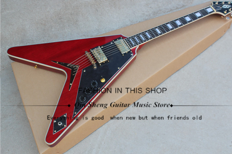 Irregular shape red\black\white electric guitar with flying V,LP pickups,golden hardware,rosewood fingerboard,free shipping(China)