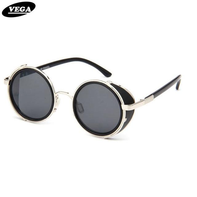 eea46327eb VEGA de cuero Steampunk gafas Negro redondo Vintage gafas de sol hombres  mujeres círculo gótico gafas