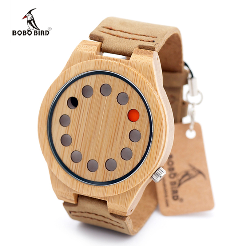 2017 Mens Watches BOBO BIRD Luxury Quartz Watch Casual Bamboo Wood Watch Male Wristwatches Quartz-Watch Relogio Masculino C-D08