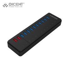 QICENT HUB USB 10 puerto USB 3.0 Multi HUB Divisor múltiples usb Puerto con 5V2. 4A Puerto de Carga Rápida para Xiaomi & Iphone 7