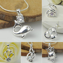 Bluelans Women Jewelry Silver Plated Cubic Zirconia Crystal Pendant for Necklace Chain