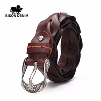 BISON DENIM 2016 New Men Belt Luxury Brand 100 Genuine Leather Belts For Men Vintage Woven