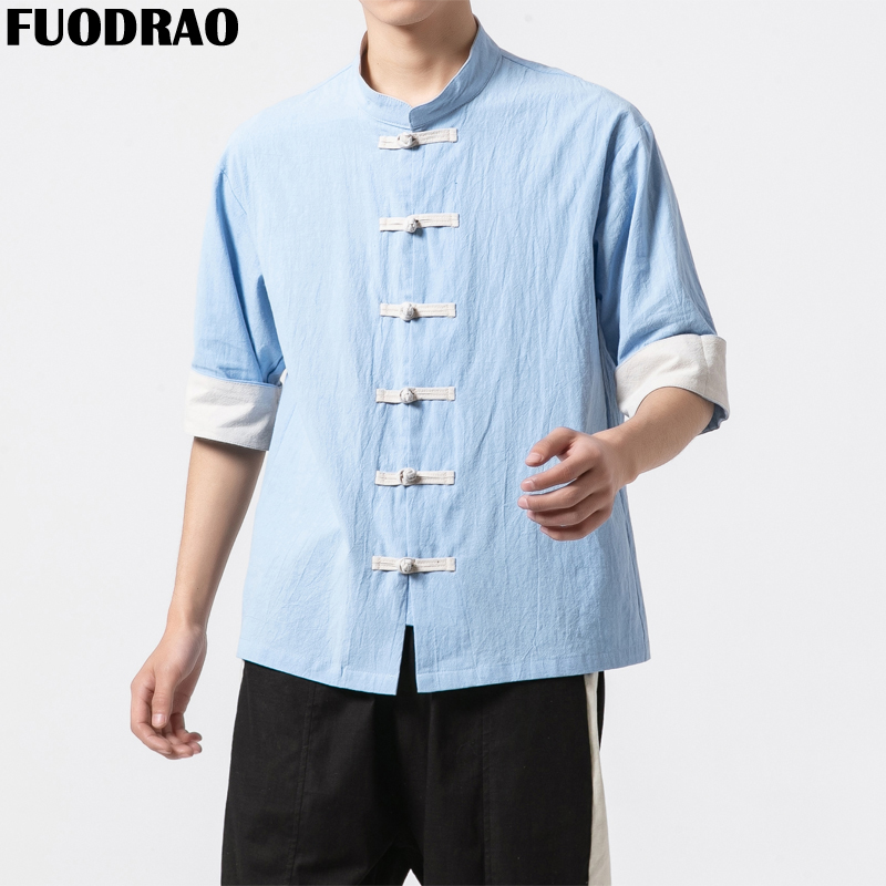 Men's Clothing Capable Fuodrao Cotton Linen Men Shirt Kung Fu Half Sleeve Shirt Chinese Tang Shuit Vintage Shirt Harajuku Streetwear 5xl B111 Casual Shirts