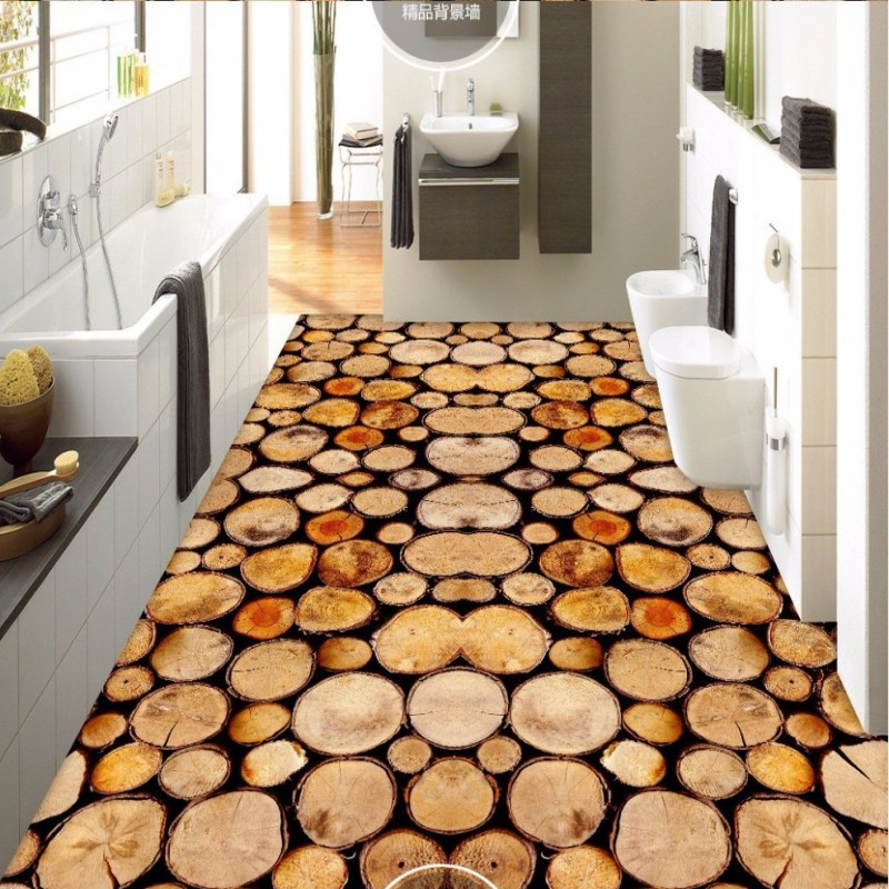 Free Shipping custom floor wallpaper Wood 3D stereo wallpaper bathroom bedroom living room wear floor painting free shipping 3d rockery pool plant floral bedroom living room toilet hotel restaurant floor painting wallpaper mural