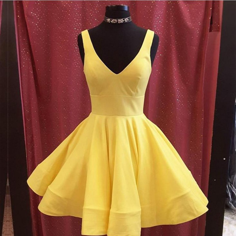 Vestidos Yellow Homecoming Dress Satin A-Line V-Neck Above Knee Homecoming Dresses Short Party Gowns Vestido de festa Curto