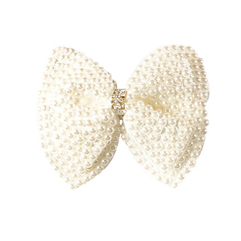 "2 Pcs/lot 3.5"" White Rhinestone Bow For Girl Kids Cute Pearls Hair Bow With Alligator Hair Clips Beads Hairgrip Hair Accessories 1"