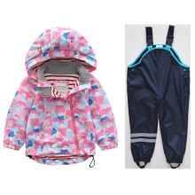 Spring and Autumn Childrens Hooded Windproof Jacket Waterproof Boys Girls Jackets + Pants