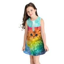 2019 Baby Girl Dress Cute Cat Kitty Rainbow Print Summer Fashion Sleeveless Clothes Children Vestidos Kids Dresses