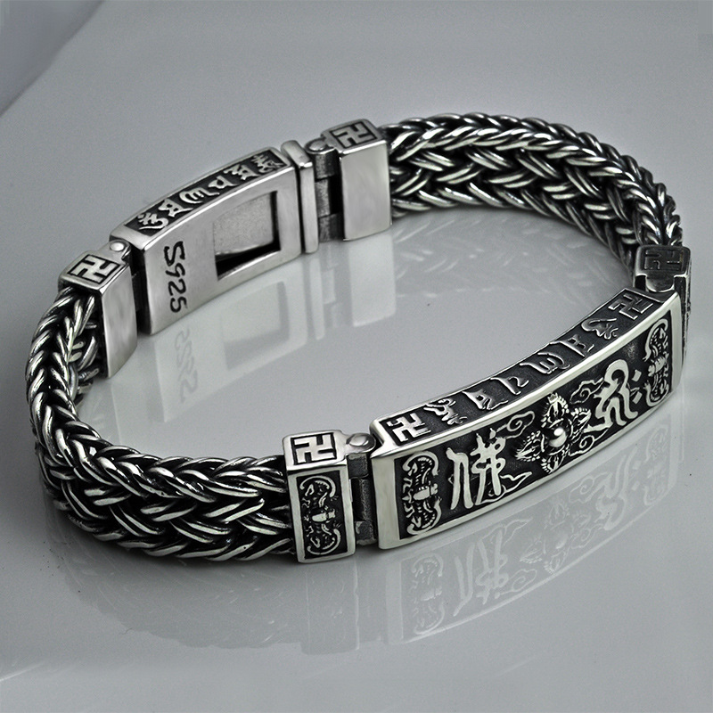 Heavy 925 Sterling Silver Tibetan Mantra Bracelets For Men Braided Woven Six Words Vajry Pestle Engraved