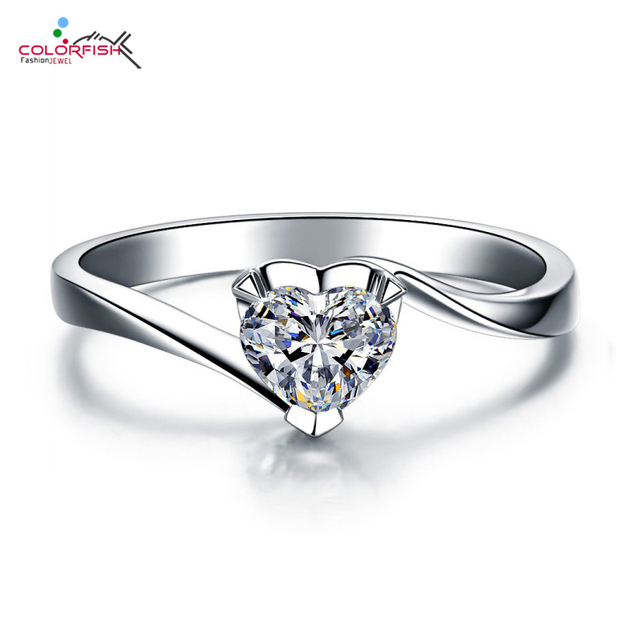 Aliexpress.com : Buy COLORFISH 925 Sterling Silver Heart Shaped ...