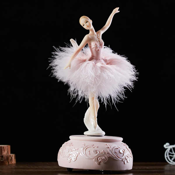Swan Lake Ballet Music Box Pink Feather Skirt Dancing Girl Musical Box Valentine's Day Gift for Girl Friend