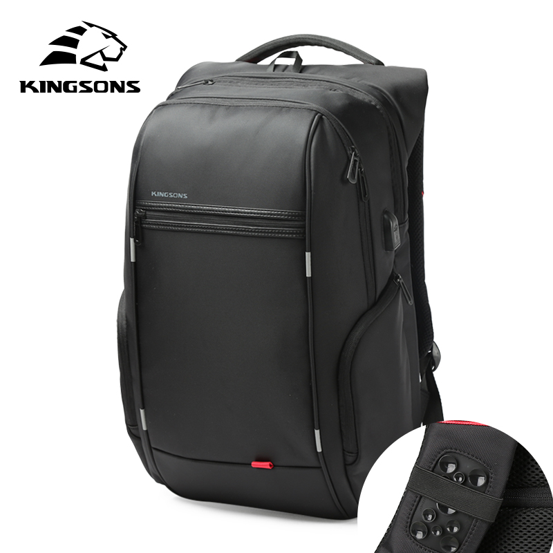 Kingsons External USB Charge Laptop Backpack Anti-theft Notebook Packsack 15/17 inci Laptop Laptop Waterproof untuk Lelaki Wanita