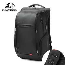 Kingsons Brand External USB Charge Computer Bag Anti-theft Notebook Backpack 15/17 inch Waterproof Laptop Backpack for Men Women brand shockproof laptop backpack nylon waterproof men women computer notebook bag 15 6 inch school bags backpack ks3027w