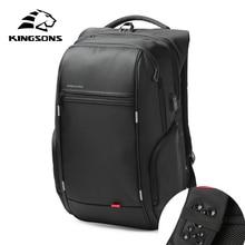 Купить с кэшбэком Kingsons Brand External USB Charge Computer Bag Anti-theft Notebook Backpack 15/17 inch Waterproof Laptop Backpack for Men Women