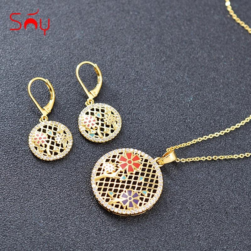 Sunny Jewelry Enamel Jewelry Set Earrings Necklace Pendant Cubic Zirconia Round Flower Jewelry Anniversary Party