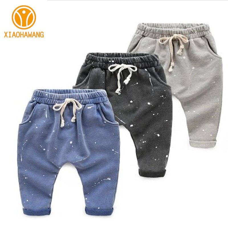 Новые штаны для мальчиков спортивные хлопковые детские брюки детские штаны-шаровары в чернильном стиле штаны для маленьких мальчиков колл...