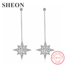 где купить SHEON 100% 925 Sterling Silver Dazzling Tassel Star White CZ Stud Earrings for Women Authentic Sterling Silver Jewelry Bijoux по лучшей цене