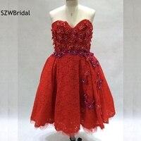 Новое поступление красное кружевное коктейльное платье 2019 вышитый бисером цветок когда либо довольно короткие коктейльные платья плюс раз