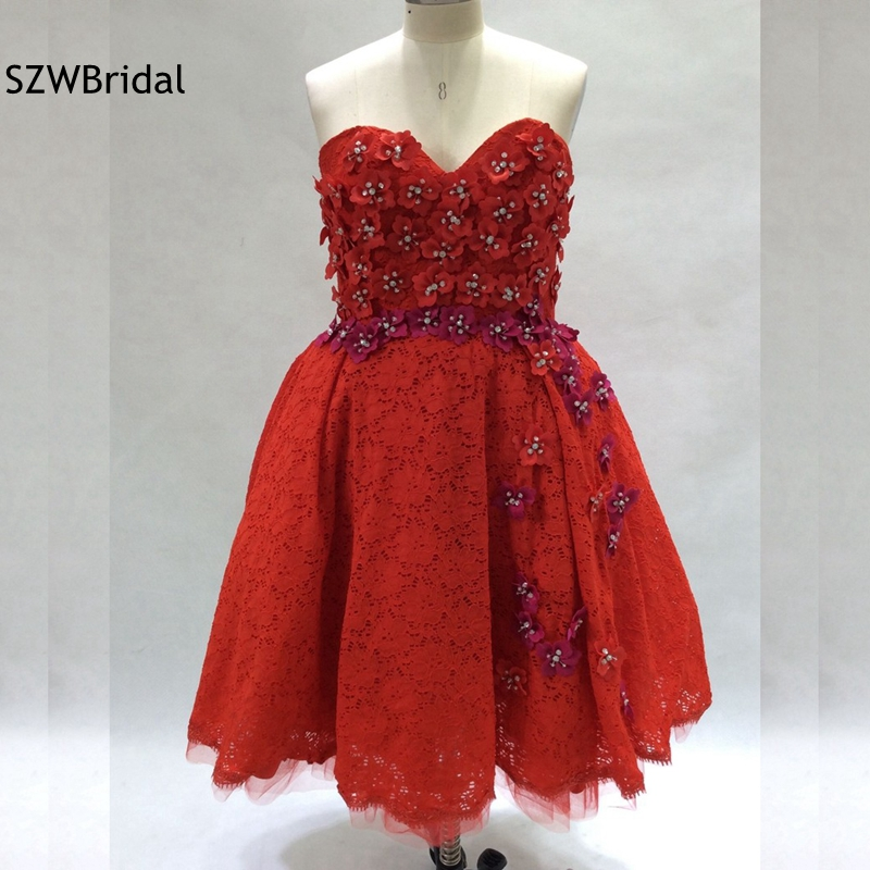 New Arrival Red Lace   Cocktail     dress   2019 Beaded Flower ever pretty Short   cocktail     dresses   Plus size vestidos de coctel