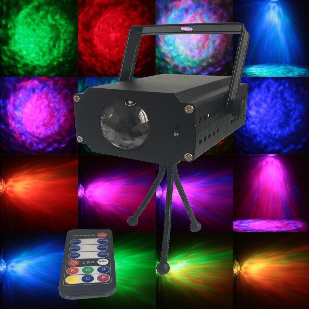 6fc5e483698 RASHA ir Control remoto 9 W RGB Full Color LED onda de agua ondulación  efecto etapa luz Proyector láser Luz Navidad vacaciones