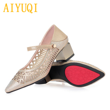 Купить с кэшбэком AIYUQI2019 spring new microfiber leather women's shoes, hollowed out diamonds pointed eye fashion shoes women, summer lady shoes