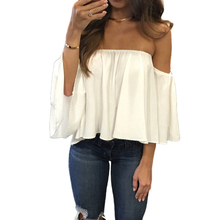 Фотография Fashion Short Chiffon Blouse Off Shoulder Top Women Tops Summer 2017 Slash Neck Three Quarter Sleeve Solid Loose Women Blouses