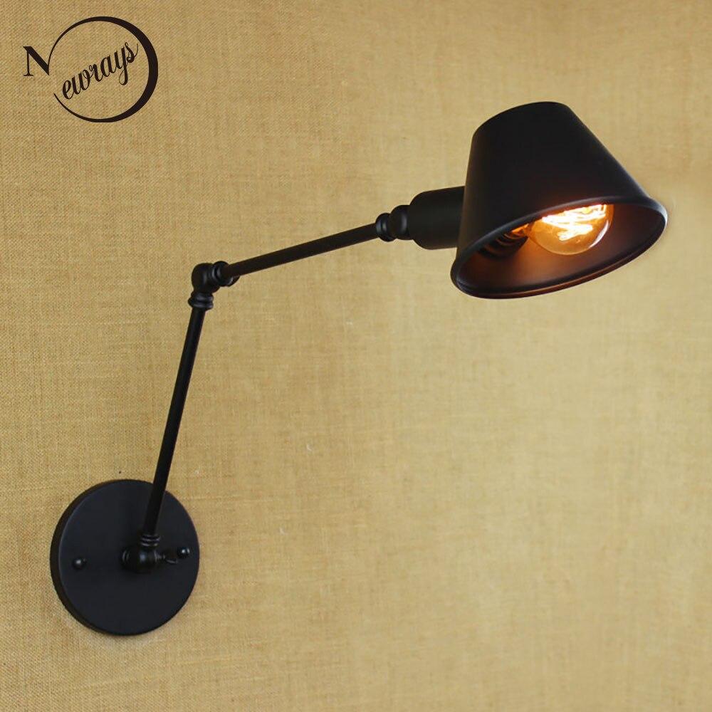Loft retro Matte Black iron shade adjustable swing arm reading wall lamps Lights e27 / e26 <font><b>sconce</b></font> for workroom bedroom bar cafe